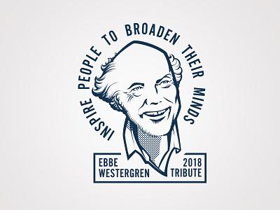 Ebbe Tribute tote bag screen print portrait vector illustration