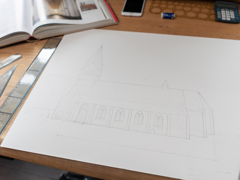 Medieval Church wip processpic drawing sketch illustration