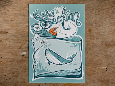 Gone fishin' fishing boat whale ocean summer curves illustrator vector illustration