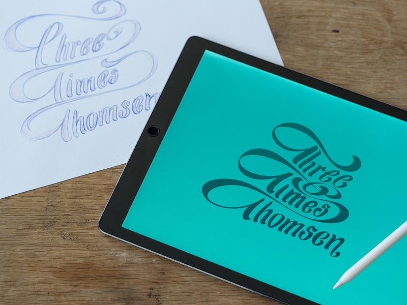 Three Times Thomsen ballpoint pen ipadpro vectornator lettering vector sketch illustration