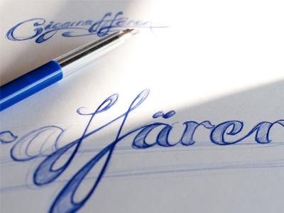 Cigarraffären ballpoint lettering typostration blue sketch