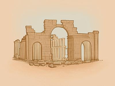 Palmyra palmyra heritage archaeology coloring book ruin procreate ipad pro illustration