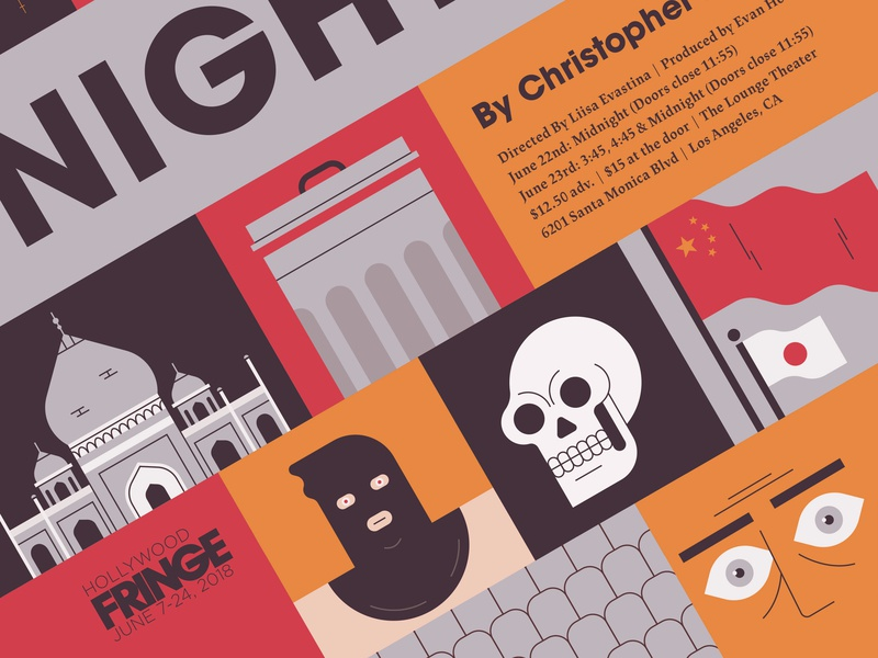 The Actor's Nightmare poster play flag tajmahal skull typography geometric texture character design flat illustration