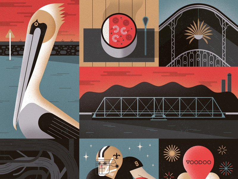 New Orleans Poster grid collage bridges new orleans architecture gumbo pelican vector icon poster animal geometric texture character design flat illustration