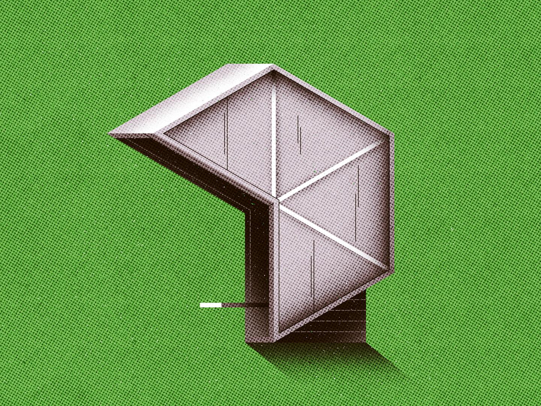 Soviet Bus Stop 03 shadow bus shelter bus stop hexagon photoshop gradient concrete brutalism halftone architecture vector geometric texture design flat illustration