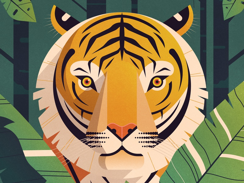 Patience jungle plants tiger animal gradient photoshop vector character geometric texture design flat illustration