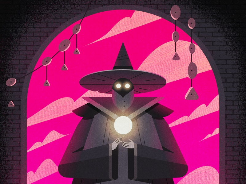 ULTRAVIOLET NECROMANCER warlock sorcerer wizard gradient photoshop vector character geometric texture design flat illustration