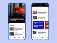 Experimental News App Design design app branding content creation content design content news feed newsfeed news typography ux ui mobile design mobile ui application mobile
