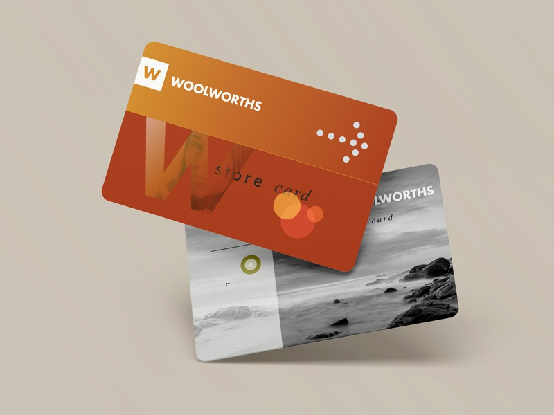 Woolworths Store Cards branding credit cards retail typography design graphic design