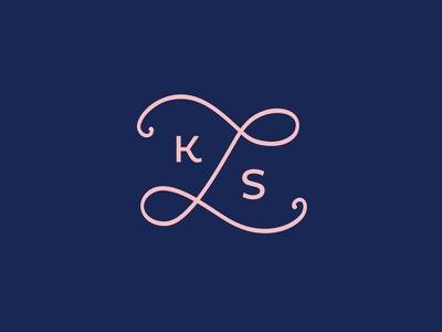 LKS Photography Secondary Logo monogram lks navy pink photography logomark logo