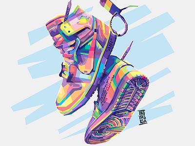 NIKE OFFWHITE SHOES nikojrdan nikeshoes nike brand offwhite hypebeast sneaker shoes fulcolor colorful artwork illustration adobe vector vectorart popart art design wpap