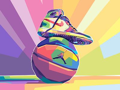 Jordan shoes and basketball graphicdesign illustration sneaker shoes fulcolor colorful popart vector vectorart hypebeastshoes hypebeast hype fashion sport running ball basketball airjordan jordan nike