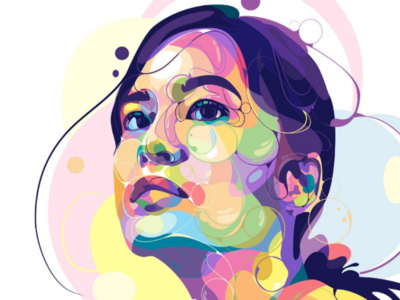 ☘️ adobe vectorart vector drawing style popart curve fulcolor colorful designgraphic digitalart women illustration portrait