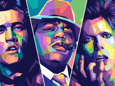 Music art digitialart fiverr commissions big vectorportrait rapper davidbowie music fulcolor colorful portrait vectorart vector popart illustration design wpap