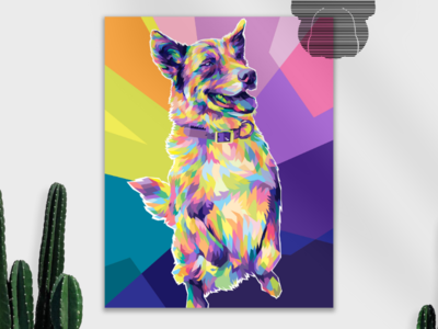 🦮 love mockup cute poster commissions graphicdesign design wpap fulcolor colorful portrait popart vector vectorart illustration animal pets pet puppy dog