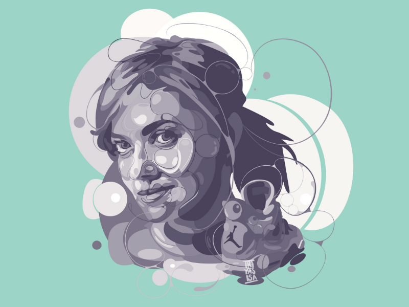 Najwa Shihab ♥️ brand graphicdesign unique commissions nike airjordan4 jordan love beautiful monochrome color tosca adobe vectorart illustration design portrait women