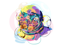 astronaut 🌻🌼 softcolor unique brand floral flower moon galaxy sky pop art fullcolor colorful portrait graphicdesign vector illustration vectorart astronaut