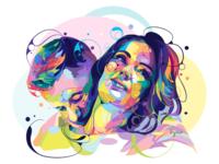 Couple ♥️ digital art digital graphicdesign cartoon commissions bubble vectorart vector fullcolor colorful portrait liquid popart illustration love cute unique sweet couple