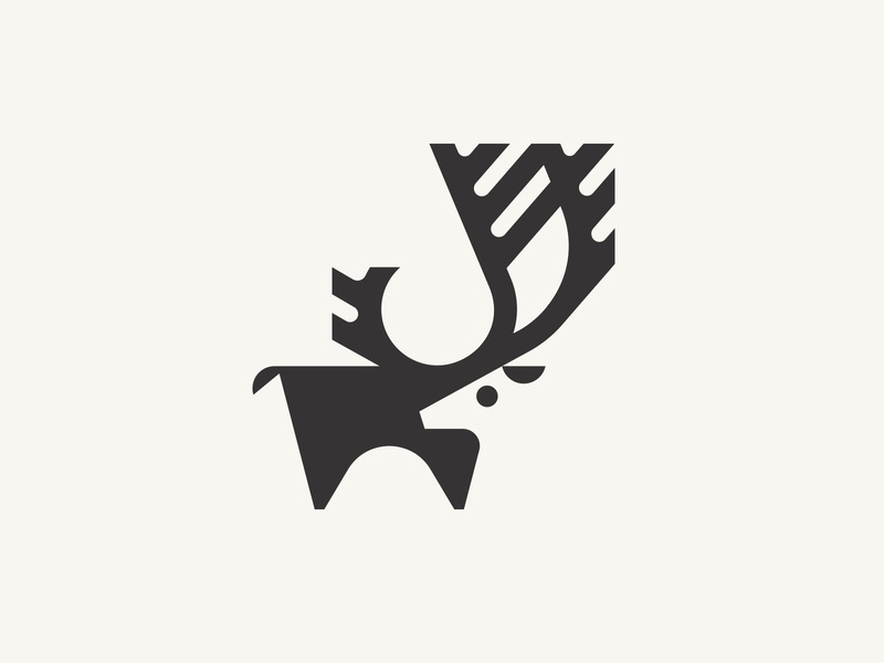 Caribou antlers logo animal