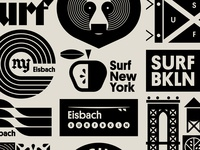 Eisbach pt. X apple blackletter subway tree brooklyn bridge flag water ocean surfing surf wave bear