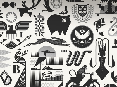 The Animal 99 Second Edition creatures pig bear shrimp water fox logo fish birds monkey earth silver print beast bird animal