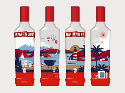 Smirnoff grill boat lighthouse usa america packaging bottle vodka