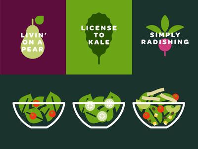 Verde green salad radish kale pear
