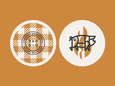 Poogan's Smokehouse pt. IV plaid coaster fire flame pig barbecue bbq