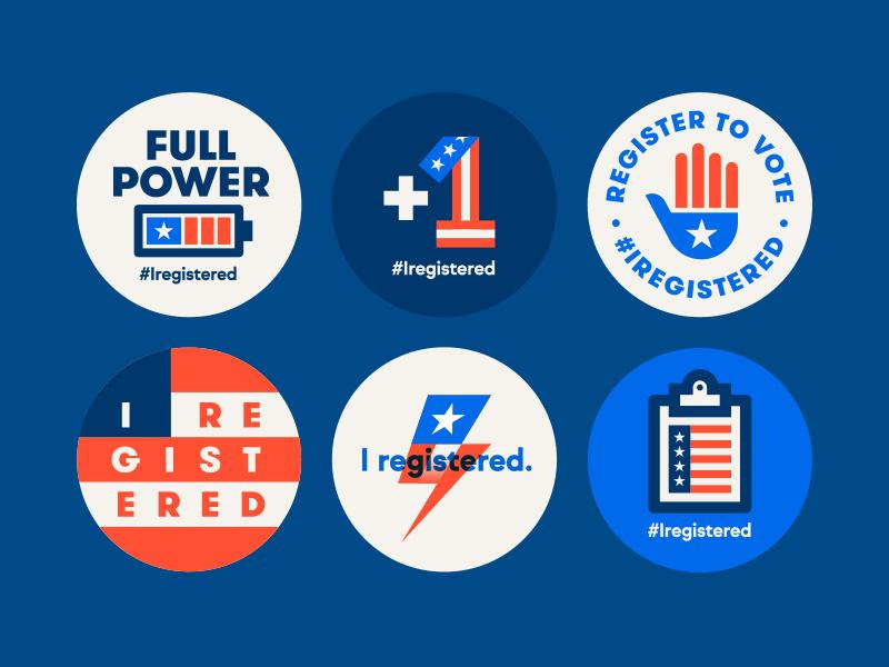 Google #Iregistered flag hand battery clipboard bolt president ballot voting america vote us usa