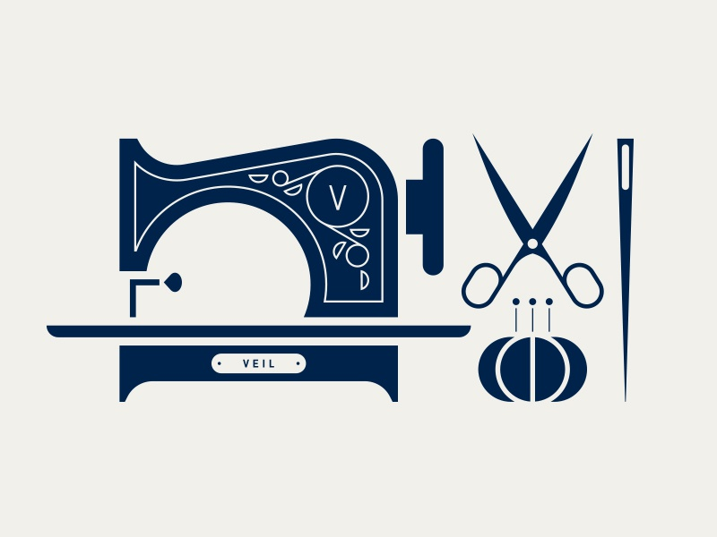 Veil pt. II fabric thread pin needle scissors machine sew sewing