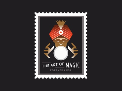 USPS art magician magic light usa teller fortune ball crystal stamp