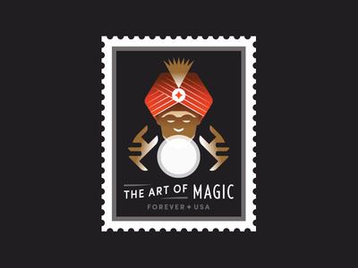 USPS art magician magic light usa teller fortune ball crystal stamp