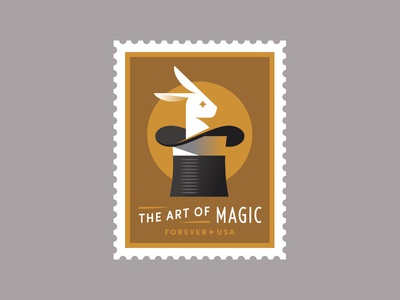 USPS pt. IV stamp bunny magician trick magic hat rabbit