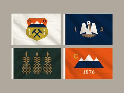 Flags crawfish crest badge bird hammer pineapple pelican mountains charleston louisiana colorado