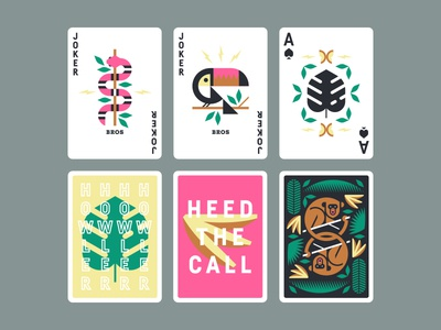 Howler Brothers pt. II leaves ace banana monkey butterfly tropical leaf toucan bird snake cards
