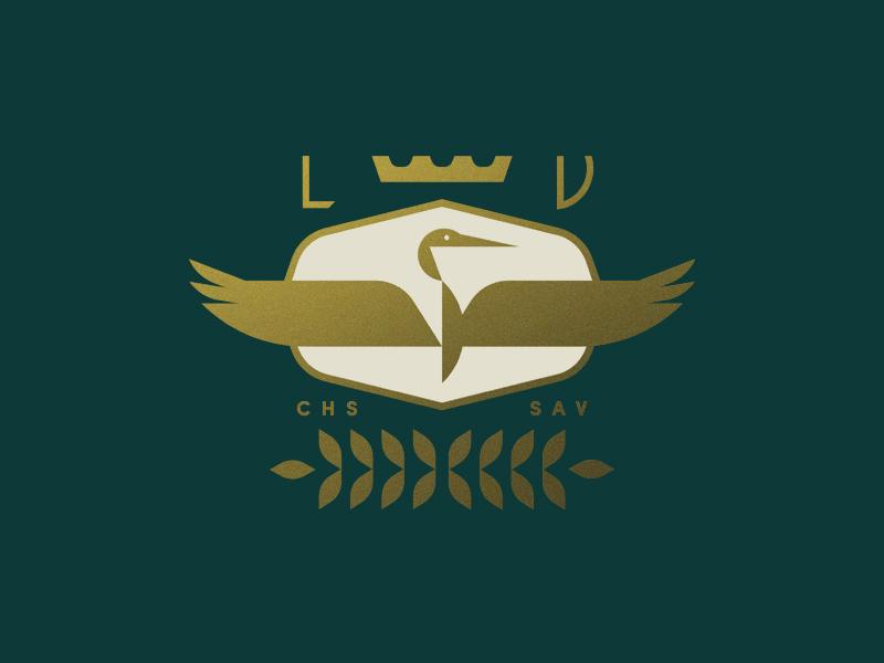 Lowcountry Valet charleston car crown crest leaves badge shield heron bird