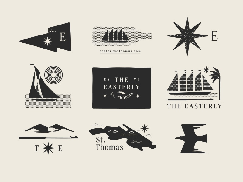 The Easterly pt. II tree palm compass harpoon seagull bird island boat ship star flag