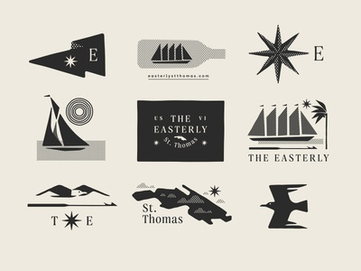 The Easterly pt. II tree palm compass harpoon seagull bird island boat ship star flag