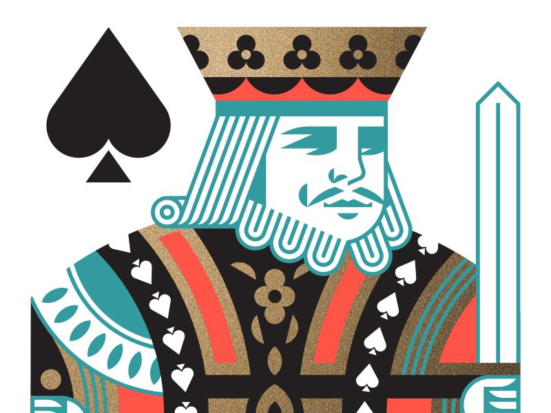 King of Spades hand head face flower card sword crown