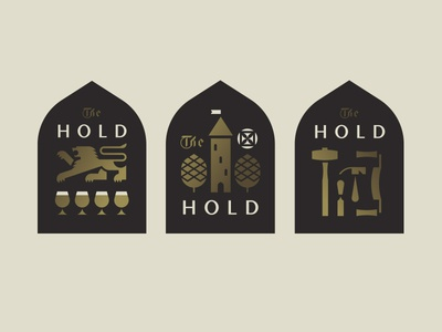 The Hold pt. III badge crest castle flag sun hammer tools hops lion brewery beer