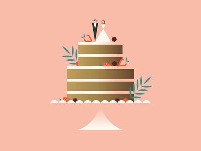 Apple bride groom slide platter branch leaf strawberry cake wedding
