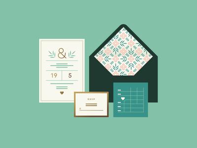 Apple pt. II heart map leaf flower stationary envelope rsvp invitation wedding
