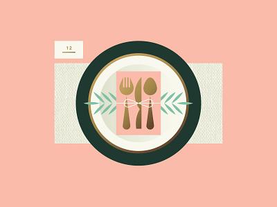 Apple pt. IV dinner food leaf napkin spoon knife fork plate reception wedding