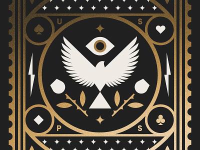 USPS pt. VI flower rose stamp postal stars cards eye dove