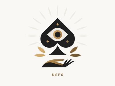 USPS pt. IX leaves stamp deck card star eye hand spades ace