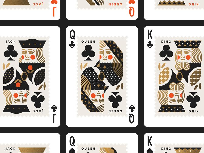 USPS pt. X club jack heart spade deck cards crown queen king