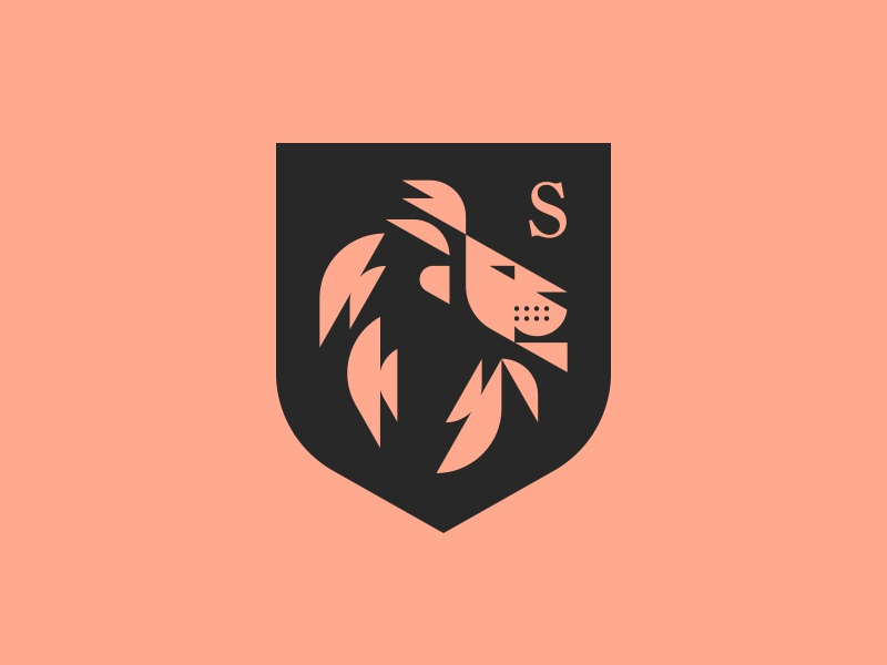 Lion shield hair seal badge crest