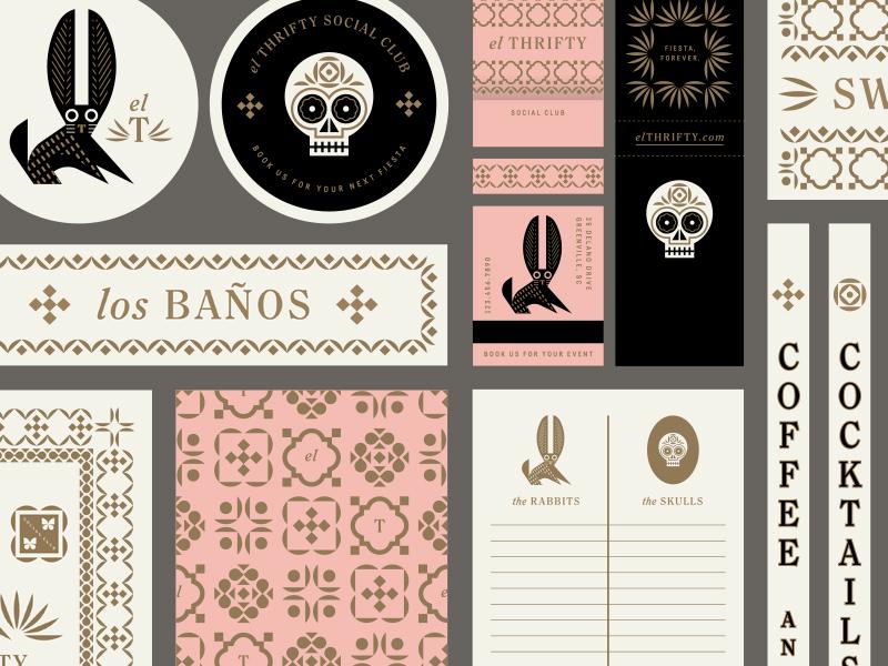El Thrifty pt. VI menu stationary matchbook pattern food restaurant mexico rabbit skull