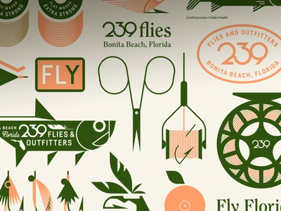 239 Flies & Outfitters pt. III fur hair feather sticker patch orange florida eye tarpon reel fishing hook thread scissors