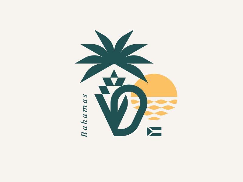 Bahamas caribbean tropical island flag water sea ocean sunset sun palm conch shell